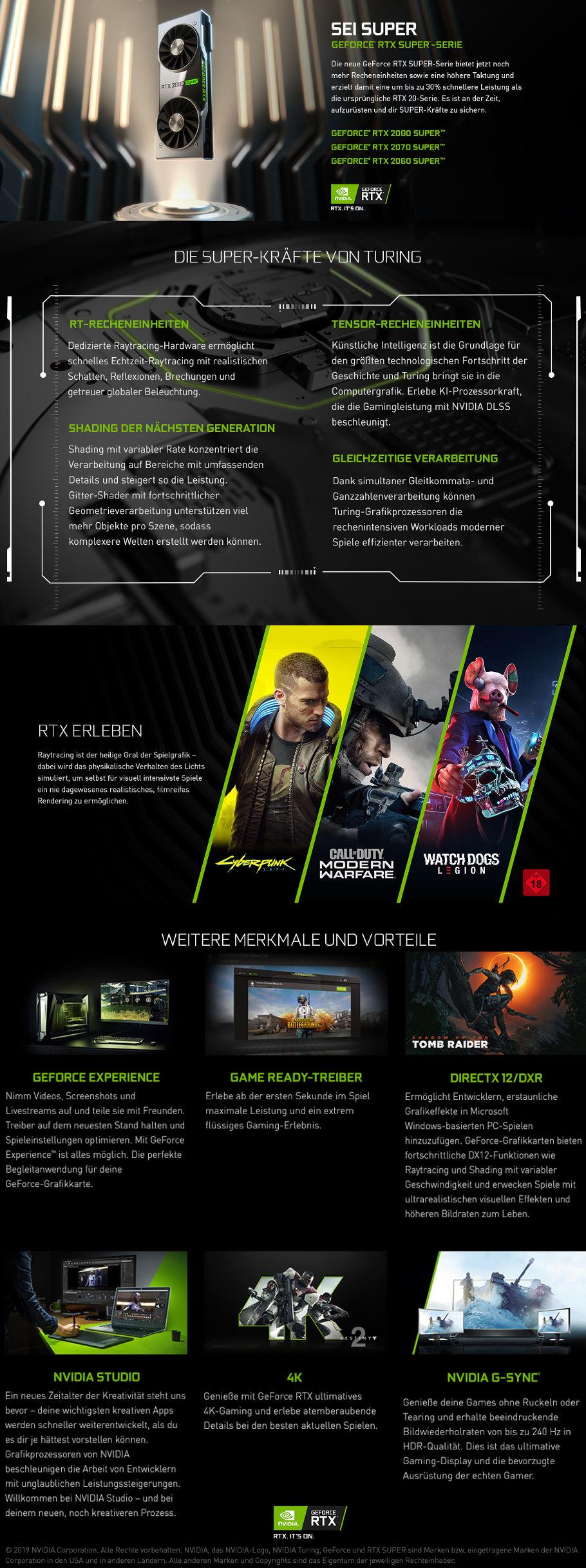 Die neuen Gamer PC mit NVIDIA RTX SUPER Grafikkarten